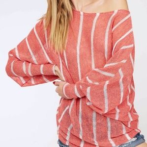 Coral striped dolman top